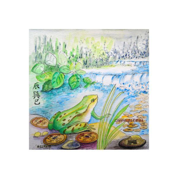 Tableau feng shui unique la grenouille magique de l'artiste-peintre feng shui ellhea