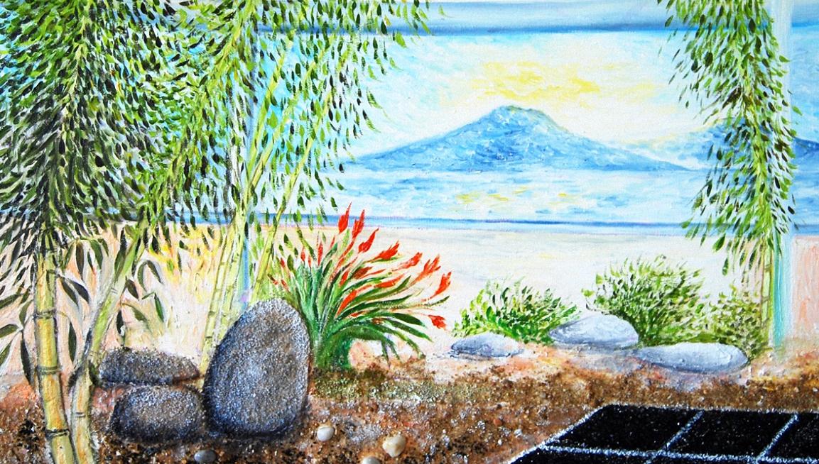 Tableau zen Jardin intérieur zen artiste Ellhëa, sélection de tableaux zen uniques et originaux.
