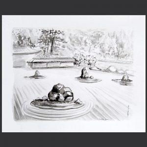 peinture Jardin Zen, peinture unique