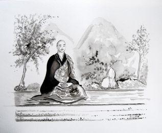 Tableaux feng shui bureau peintures zen l 39 encre noire for Jardin japonais dessin